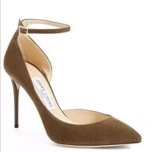 NEW 10 / 40 Jimmy Choo Lucy Olive Green Suede Heel